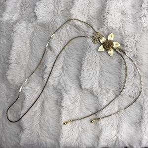 Vintage Rose Flower Gold Bolo Gold Chain Necklace